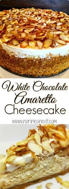 White Chocolate Amaretto Cheesecake Creamy Rich White Chocolate Almond and Amaretto Cheesecake topped with sliced almonds in an Almond Amaretto Graham Cracker crust. It's pretty much TO DIE FOR! Sweet Recipes, Cake Recipes, Dessert Recipes, Amaretto Cheesecake, Cheesecake Crust, Cheesecake Toppings, Gourmet Cheesecake Recipe, Sliced Almonds, Savoury Cake