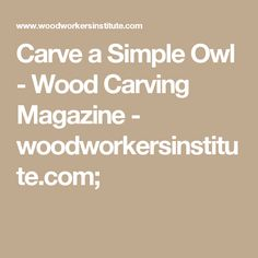 Carve a Simple Owl - Wood Carving Magazine - woodworkersinstitute.com;