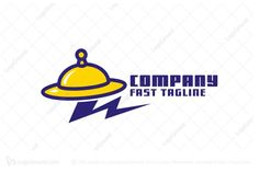 Logo for sale: Fast Ufo Dinner Logo  Simple golden cloche on a dinner plate shaped like a flying UFO.