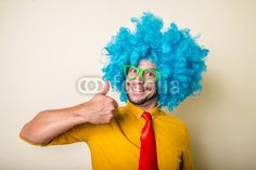 crazy funny young man with blue wig BUY IT FROM $1