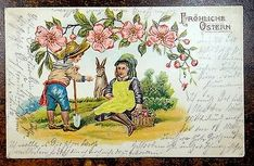 ANTIQUE EASTER POSTCARD 1906 Girl in Silk Dress w/ Boy & Rabbit FROHLICHE OSTERN - EUR 3,64 | PicClick IE Halloween Greetings, Christmas Greetings, Vintage Easter, Vintage Christmas, Mad Face, Rabbit Colors, Easter Wishes, Rabbit Baby, Easter Art