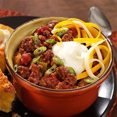 No-Bean Chili Recipe -I often combine the ingredients for this zesty chili the night before. In the morning I load up the slow cooker and let it go! It's so easy to prepare. —Molly Butt, Granville, Ohio