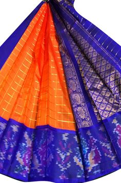 Orange Handloom Kuppadam Silk Checks Saree