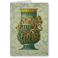 Birthday Card - Vintage Art Deco  A beautiful Birthday greeting card. Featuring beautiful antique and vintage designs. This notebook has been decorated with a vintage art deco design in greens and golds. The inside is blank, waiting for your personal message.    http://vintagehomedecor.blogspot.ca/