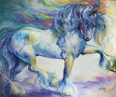 """MY GYPSY VANNER THRILL"" by Marcia Baldwin, Shreveport, Louisiana // Gypsy Vanner Cobb Horses are a thrill to see and ride. Here is my original oil painting from 2013  ~ the original has been sold, but you can enjoy prints on paper or canvas here on Imagekind. // Imagekind.com -- Buy stunning, museum-quality fine art prints, framed prints, and canvas prints directly from independent working artists and photographers."