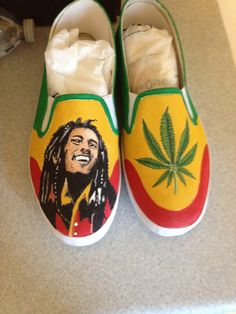 Bob Marley custom painted shoes