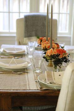 fall table setting - simple arrangements, neutral linens