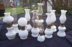 Milk Glass - I have the geometric shaped one in the back. Antique Dishes, Antique Glassware, Vintage Dishes, Milk Glass Lamp, Glass Lamps, Geometric Lamp, Imperial Glass, Fenton Glass, Glass Dishes