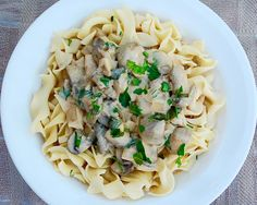 Delicious slow cooker mushroom spinach stroganoff.