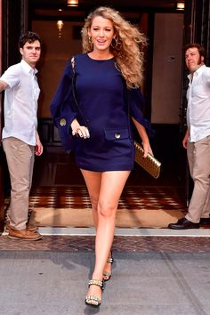 22 June Blake Lively wore a navy mini-dress by Monse and Christian Louboutin heels for another promotional event in New York. - HarpersBAZAAR.co.uk