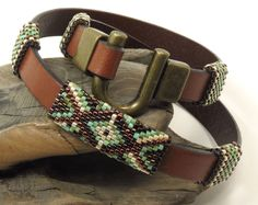 LEATHER WRAP BRACELET-2X Wrap-Miyuki Delicas-Peyote Stitch Tubes-Southwest-Boho-Chic-Horseshoe Clasp-Brown Leather Wrap-(2xW1) by CinfulBeadCreations on Etsy