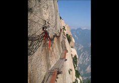 Camino de tablas del Monte Hua, China