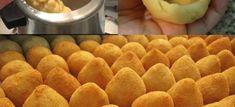 Massa de coxinha fácil - Veja a Receita: Coxinha Recipe, Snack Recipes, Cooking Recipes, Snacks, I Love Food, Good Food, Portuguese Recipes, Empanadas, No Cook Meals