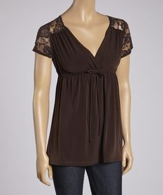 Take a look at this Brown Lace Empire-Waist Top I bought at zulily today!
