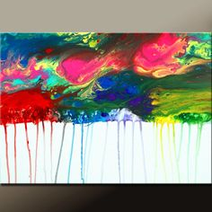 Raining - NEW Abstract Canvas Art Painting 36x24  Original  by wostudios, $129.00
