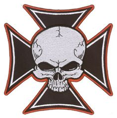 Aftermath – Iron Cross Skull – Embroidered Patch | http://www.bikeraa.com