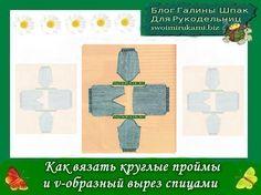 фото шаблон для сайта1 Как вязать круглые проймы и v-образный вырез спицами