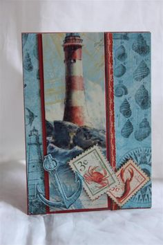 handmade card ... lighthous focal image ... Graphic 45: By the Sea ...