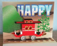 Pop-up Birthday Card Red Train Caboose on Etsy, $5.00