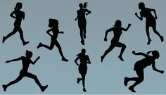 Silhouette of women jogging vector graphics is a perfect vector images for designs in women sports, running magazines, women fitness and health related graphic design materials. Running Silhouette, Silhouette Clip Art, Woman Silhouette, Running Magazine, Sport Park, Pottery Classes, Art Reference Poses, Drawing Sketches, Running