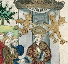 crowned by devils  Giovanni Boccaccio, The Fall of Princes (John Lydgate's version of De casibus virorum et feminarum illustrium), England ca. 1450-1460  BL, Harley 1766, fol. 200r