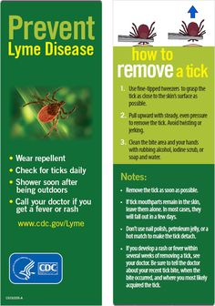 This bookmark describes tips for preventing Lyme disease and shows proper tick removal techniques.
