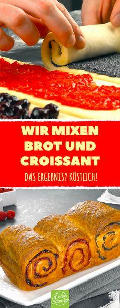 Wir mixen Brot und Croissant.  Das Ergebnis? Köstlich! Mit Himbeeren, Blaubeeren und Mohn gefülltes Croissant Brot. #croissant #brot #blätterteig #himbeeren #blaubeeren #mohn #croissant