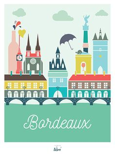 Discover recipes, home ideas, style inspiration and other ideas to try. Poster City, Bordeaux France, Art Et Illustration, Vintage Travel Posters, Illustrations And Posters, Printable Wall Art, Cool Places To Visit, Design City, Poster Prints