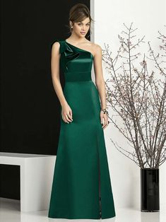 Full length one shoulder matte satin gown with modified bow detail at shoulder and matching inset waistband at natural waist. Slit at side front of skirt. African Bridesmaid Dresses, Dusty Blue Bridesmaid Dresses, Green Party Dress, Maid Of Honour Dresses, Elegant Wedding Dress, The Dress, Colorful Roses, Matte Satin, Satin Gown