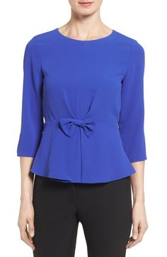 CeCe Bow Detail Crepe Peplum Top available at #Nordstrom