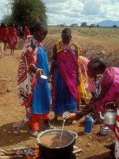 Masai Women Cooking for Wedding Feast, Amboseli, Kenya