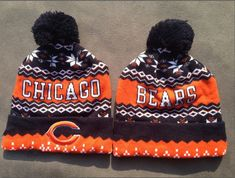 c352706b0 Chicago Bears Winter Outdoor Sports Warm Knit Beanie Hat Pom Pom Chicago  Bears Shoes