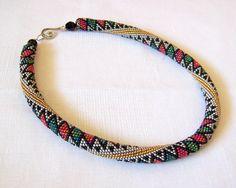 CIJ SALE Beaded crochet rope necklace  geometric pattern by lutita, $ 72.25