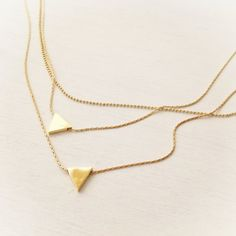 Gold Layered Necklace Triangle Necklace Gold Filled by Avnis
