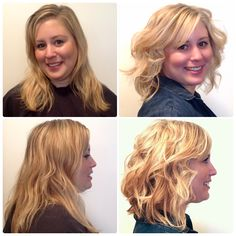 Blonde highlights and a textured haircut Before and After