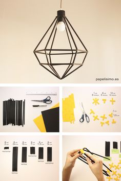 Lampara con pajitas diy straws lamp paso a paso #manualidades #crafts