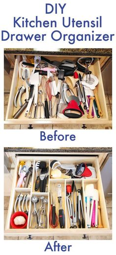 Home Organization Make a custom wood DIY kitchen utensil drawer organizer on the cheap! Know All Abo Organisation Hacks, Utensil Drawer Organization, Diy Organization, Organizing Ideas, Organizing Drawers, Kitchen Drawer Dividers, Kitchen Utensil Storage, Organizing Kitchen Utensils, Diy Drawer Organizer