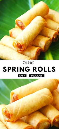 The crispiest and best spring rolls filled with vegetables and deep-fried to golden perfection. This spring roll recipe is easy, authentic and 100% homemade. Asian Foods, Asian Recipes, Easy Recipes, Easy Meals, Cooking Recipes, Delicious Dinner Recipes, Yummy Food, Ramadan Recipes, Roll Recipe