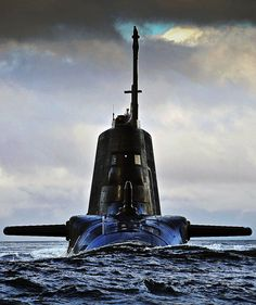 Submarine artwrok sub bow-on running on the surface, picture only
