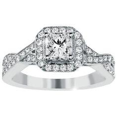 1.15CT Princess Cut Diamond Engagement Ring Infinity Halo Twist Pave Vintage Antique Design 14 Karat White Gold Size 4-9