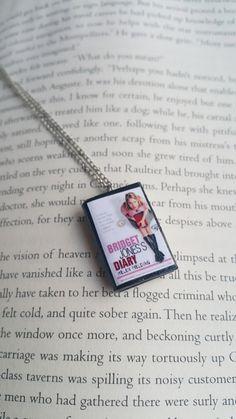 Bridget Jones's Diary Handmade Mini Book Necklace / Clay Miniature Books Jewelry - Book Lover Gifts (SKU: FN2-18) by PinkBlueArtUK on Etsy