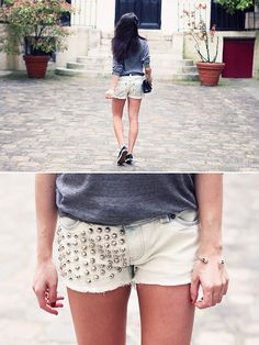 Bedazzled studded shorts!