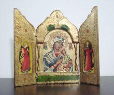 Vintage Orthodox Theotokos Triptych Icon  - Religious Art