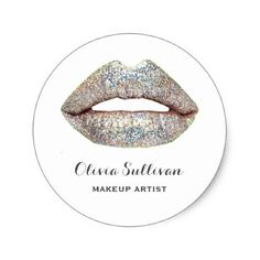 glam silver lips makeup artist classic round sticker - glitter gifts personalize gift ideas unique