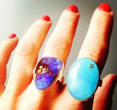 Have the blues no more... #mondaymorningblues #opals #diamonds #rednails #statementrings