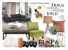 """""""Moss Green & Rust"""" by hannabanes ❤ liked on Polyvore featuring interior, interiors, interior design, home, home decor, interior decorating, UGG Australia, Homage, Bloomingville and Home Decorators Collection"""