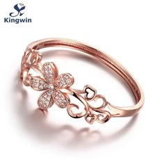 Hot sale cz diamond women bangles Bracelets cuff high quality 18k real gold plated flower girls friends birthday gift for lovers