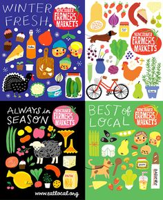 Vancouver Farmers Markets are one of my favourite things about Vancouver. I honestly think one thing that has greatly contributed to the buzz and overall charm of the markets is the branding and promotion work by Jane Koo . Her illustrations are perfectly colourful and charmingly childlike, but all the while classy. I love the how the mostly solid, flat shapes are accented with well-placed use of colour overlays. Everything has a really hand-drawn feeling about it even though it was ...