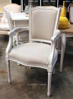 *Stark Carver Chair - Distressed White with Cream Upholstery - Sold Out - MORE COMING SOON - Canalside Interiors
