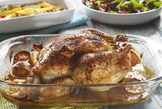 If you love rotisserie chicken, but do not have a rotisserie accessory, you can achieve a similar effect by baking in your oven. The chicken begins with a good blend of herbs and spices. This recipe is simple to make.